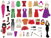 Fashion silhouettes and elements. Illustration of fashion silhouettes and elements Royalty Free Stock Photography