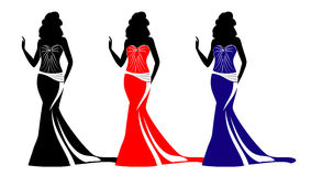 Fashion silhouettes with purses. Vector Stock Photos