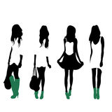 Fashion Silhouettes. 4 fashion silhouettes of women vector illustration