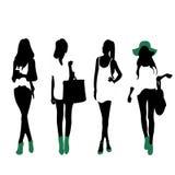 Fashion Silhouettes. 4 fashion silhouettes of women Royalty Free Stock Photo