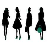 Fashion Silhouettes. 4 fashion silhouettes of women Stock Photo