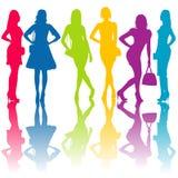 Fashion silhouettes of women. Fashion colored silhouettes of women Royalty Free Stock Photography
