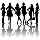 Fashion silhouettes of women Stock Photography