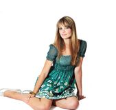 Fashion sitting girl Stock Image