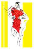 Fashion sketch. Fashion illustration vector sketch,fashion model,artistic royalty free illustration