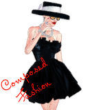 Fashion sketch,attractive woman in vintage style black dress and hat in our 3d render digital art style. Paris Fashion sketch,attractive woman in vintage style Royalty Free Stock Images