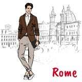 Woman walking in Rome Royalty Free Stock Photo