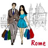 Woman walking in Rome. Fashion sketch of beautiful woman in Rome, Piazza Navona Stock Photography