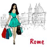 Woman walking in Rome. Fashion sketch of beautiful woman in Rome, Piazza Navona Royalty Free Stock Image