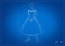 Fashion sketch on blueprint Stock Photo
