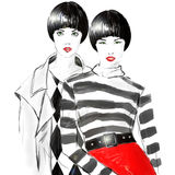 Fashion sketch drawing girl Stock Photo