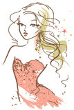 Pretty Girl Sketch. Fashion sketch featuring a pretty blond wearing an evening dress with sparkles stock illustration