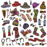 Fashion Sketch. Female Accessories Set.Autumn, Royalty Free Stock Photo