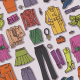 Fashion Sketch.Females clothing,accessories Royalty Free Stock Image