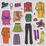 Fashion Sketch.Females clothing and accessories Stock Photos