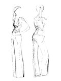 Fashion sketch freehand black and white Stock Images