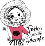 Fashion sketch girl with camera. Illustration of a pretty sketch girl Royalty Free Stock Image