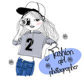 Fashion sketch girl with camera Royalty Free Stock Photo