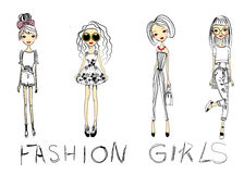 Fashion sketch girl Stock Image