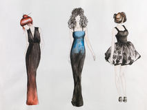Fashion sketch. Hand drawn fashion sketch. women in colored evening gowns. watercolor and pencil drawing Stock Photo