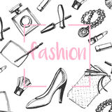 Fashion sketch set.Hand drawn graphic shoes, makeup brush, lipstick, powder, clutch, perfume Stock Image