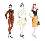Fashion Sketch of Three Beautiful Woman Stock Photos