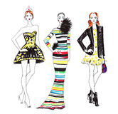 Fashion Sketch of Three Beautiful Women Stock Images