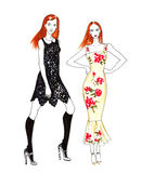 Fashion Sketch of Two Beautiful Girls. Fashion Sketch of Two Beautiful Redhead Girls. Hand Drawn Modern Stylish Woman Concept in Red and Black Colors Stock Photos
