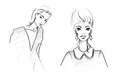 Fashion Sketch of Two Beautiful Woman Stock Photos