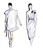 Fashion Sketch of Two Beautiful Woman Royalty Free Stock Image
