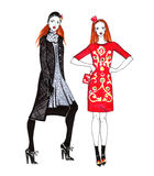 Fashion Sketch of Two Beautiful Women Royalty Free Stock Photo