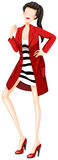 Fashion. Sketch of a woman in black and white dress and red overcoat Royalty Free Stock Image