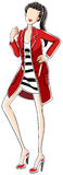 Fashion. Sketch of a woman in black and white dress with red overcoat Stock Photography