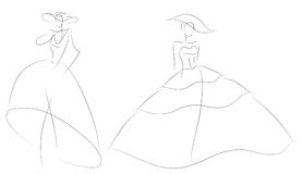 Fashion sketch woman model in retro wedding dress Royalty Free Stock Photography