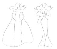 Fashion sketch women model in vintage summer dress. Fashion sketch of beautiful women models in bohemian retro dress. Black & white vector illustration royalty free illustration