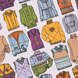 Fashion Sketchy.Different knitted clothing Royalty Free Stock Image