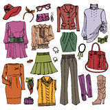 Fashion Sketchy.Females clothing and accessories Royalty Free Stock Photography