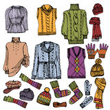 Fashion Sketchy.Females knitted clothing set Stock Images