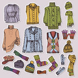 Fashion Sketchy.Females knitted clothing set. Royalty Free Stock Images