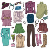 Fashion Sketchy.Womans clothing and accessories Royalty Free Stock Photography