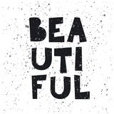 Fashion slogan BEAUTIFUL in vector for t-shirt print, poster, card, geometric letter illustration. Stock Photos