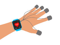 Fashion smart  watch with hand, vector illustration Royalty Free Stock Image