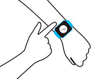 Fashion smart  watch with hand, vector illustration Stock Photo