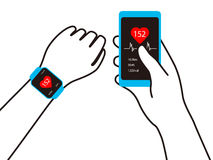 Fashion smart  watch with hand, vector illustration Stock Image