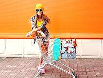 Fashion smiling hipster woman wearing a sunglasses Stock Photos