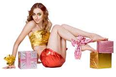 Fashion smiling woman model with presents Stock Image