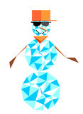 Fashion snowman with glasses and a baseball cap. Hip-hop charact. Er. in the style of the polygon Stock Photo