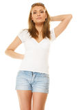 fashion sommaren Nätt sexig flicka i grov bomullstvillkortslutningar Arkivfoto