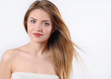Fashion spa portrait of beautiful young blonde woman Royalty Free Stock Photo