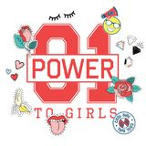 Fashion sport t shirt print for girls with lettering 01 power to girls with embroidery, patches. vector illustration